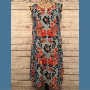 CAbi Maya Dress Floral Blue & Orange Small